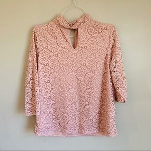 EUC Rose + Olive size XL pink blouse blush lace
